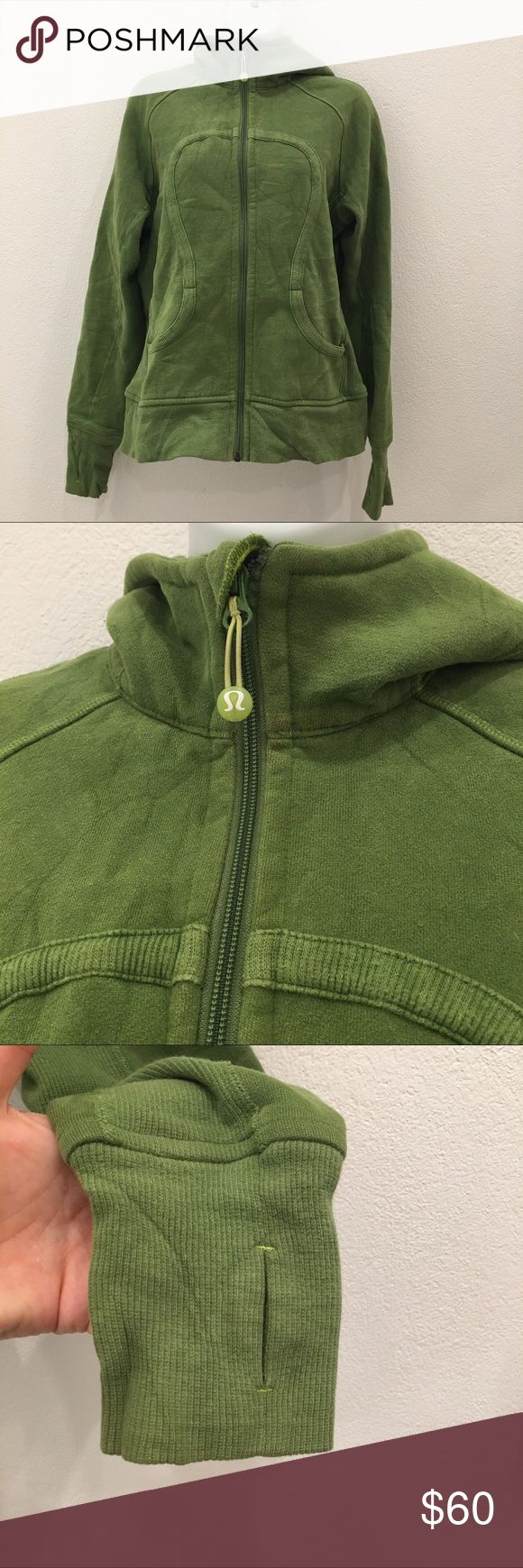 Lululemon Green Scuba Hoodie Jacket size 8 Preowned authentic Lululemon Green Scuba Hoodie Jacket size 8. Has thumbholes. Please look at pictures for better reference. Happy shopping!! lululemon athletica Tops Sweatshirts & Hoodies