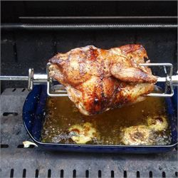 The BEST BBQ Rotisserie Chicken - tested 10/10!!! Use water in drip tray to keep moisture, high and tie the legs and wings, garlic salt inside and in baste. Heat bbq to 180 degrees till chook reaches 180 fahrenheit... use two outer burners on medium...absolutely perfect!