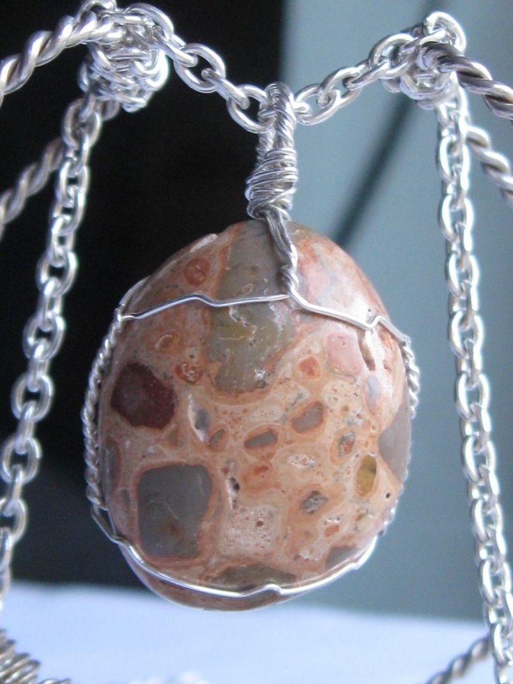 Leopardskin jasper pendant wire wrapped in sterling silver & silver necklace