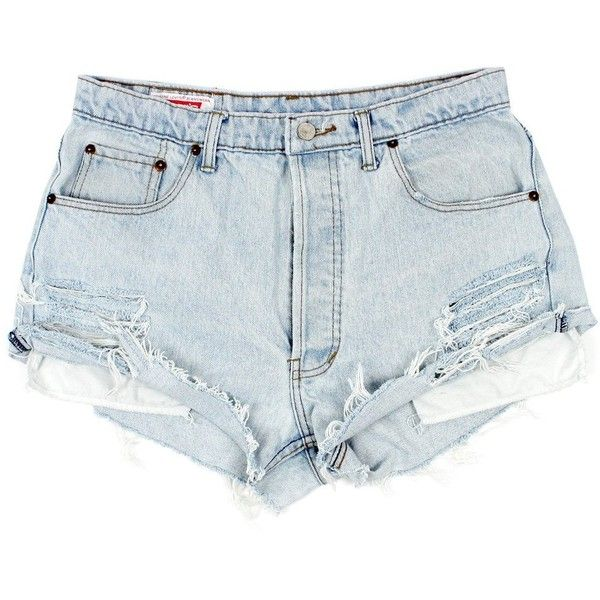 Original 501s [W31] found on Polyvore featuring shorts, bottoms, distressed denim shorts, vintage shorts, distressed shorts, denim cutoff shorts and ripped shorts