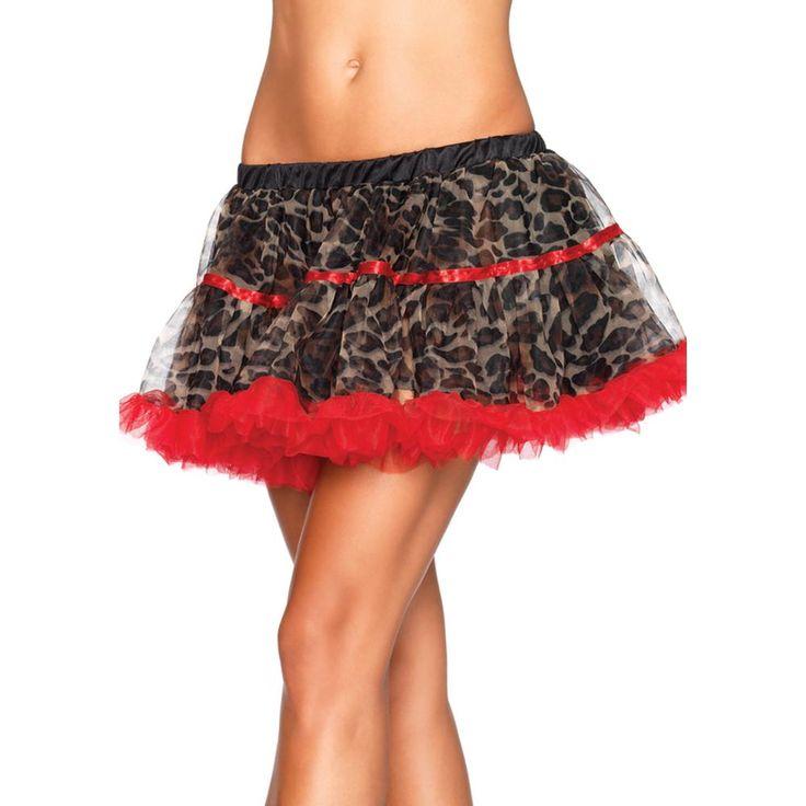 Leg Avenue Luipaard print tule petticoat bruin/rood - Kostuum Party -