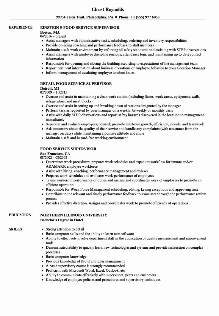 20 Food Service Worker Job Description Resume in 2020