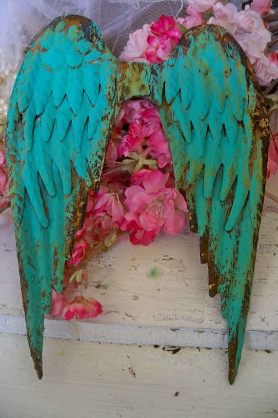Deep turquoise aqua rusty metal wings distressed wall sculpture farm house home decor Anita Spero from AnitaSperoDesign on Etsy