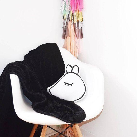 Sleepy Wolf Head Cushion kawaii cushion by WildRabbitIreland