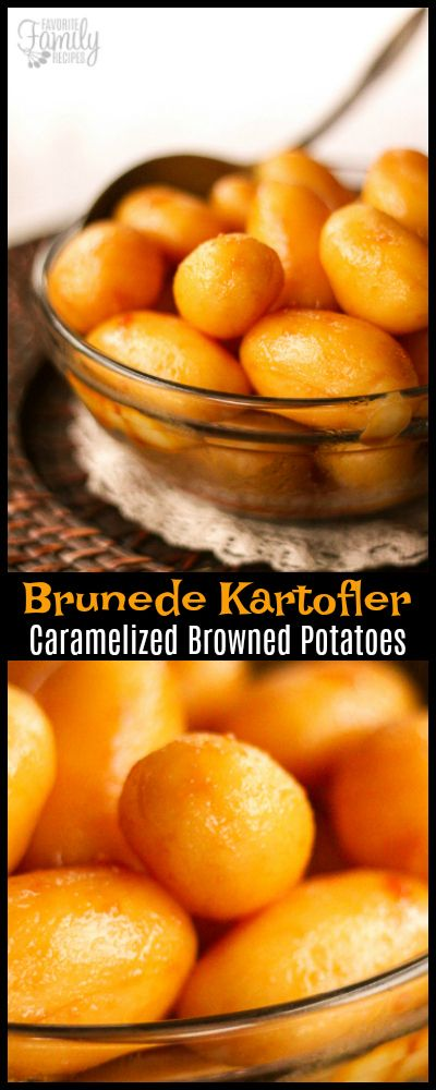 Danish Brunede Kartofler - Caramelized Browned Potatoes - are a great side dish to any meal! They are a small potato with a sweet caramelized coating.