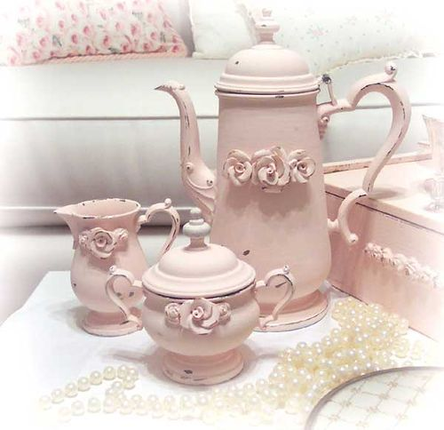 stunning pink shabby chic things | So Shabby Pink Stunning Tea Set Chic! | Flickr - Photo Sharing!