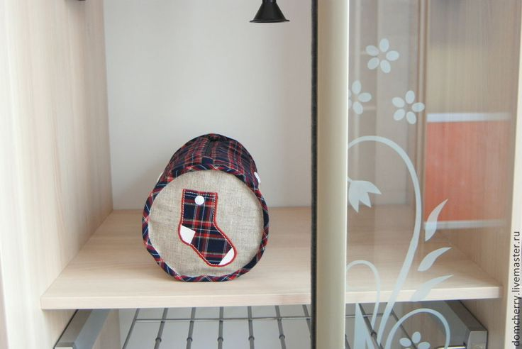 """Купить Сумка для носков """"Шотландка"""" Синий - серый, хранение белья, сумочка, изделия из льна"""