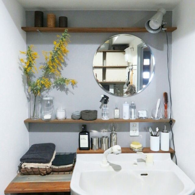 ak3さんの、バス/トイレ,IKEA,植物,グリーン,洗面所,DIY,ニトリ,模様替え,アクセントウォール,ミモザ,セルフペイント,グレー,アクセントカラー,NO GREEN NO LIFE,ブログやってます♪,脱衣場,グレーの壁,グリーンのある暮らし,塗りました,インスタ→achipetit,グレーインテリア,のお部屋写真
