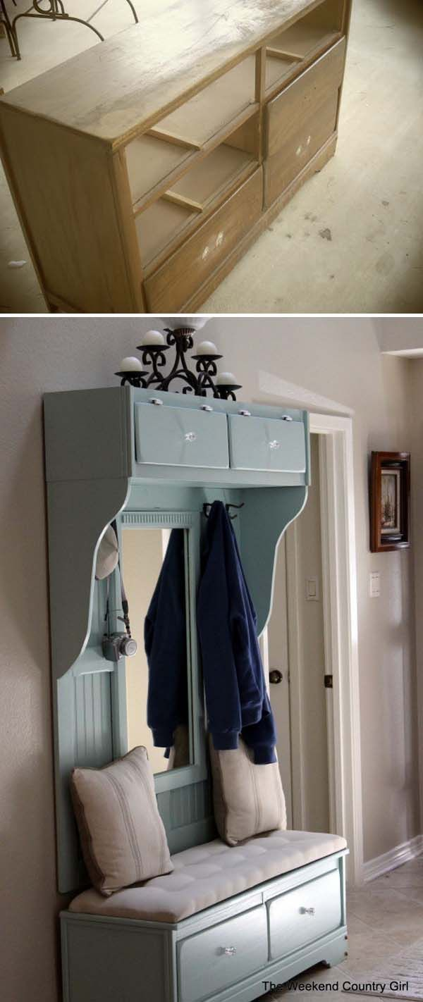 DIY Beautiful Mudroom Bench from an Old Dresser .