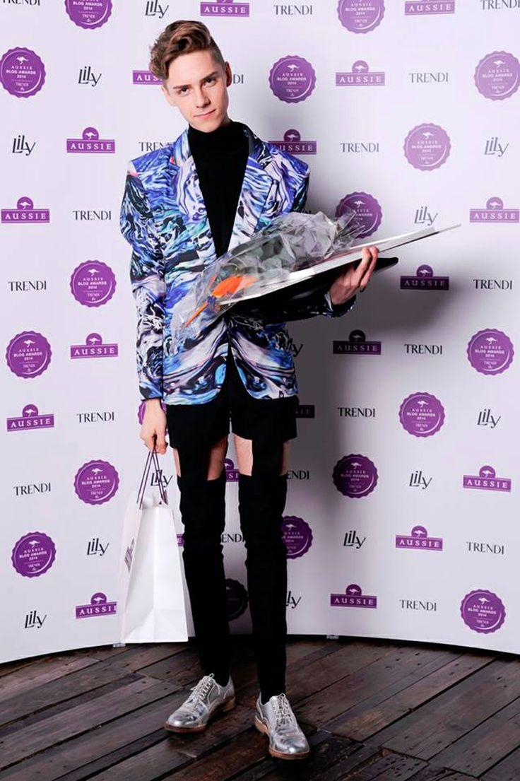 Mikko Puttonen wearing Meri Cut-Out Pants from JULJA at Aussie blog awards 2014  Picture from http://www.mikkoputtonen.com/
