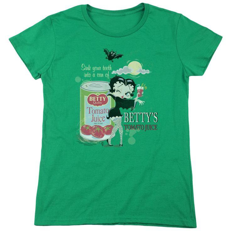 Boop Vampire Tomato Juice Kelly Green Womens T-Shirt