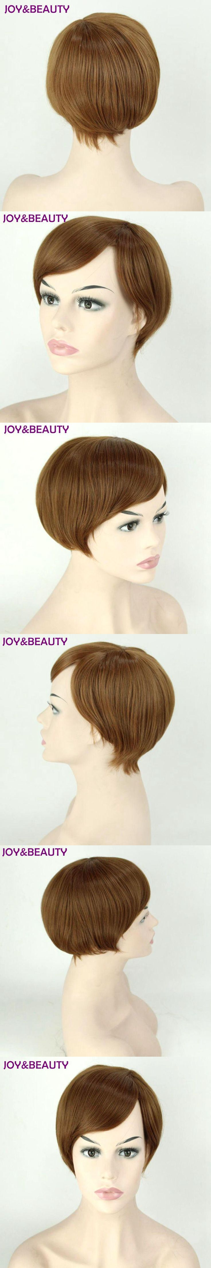 JOY&BEAUTY 30cm Synthetic Hair Short Straight Wig Light brown Side Parting Bob Wigs With Bangs For Black Women