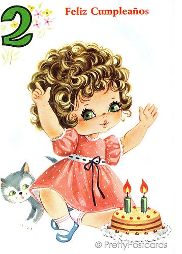 Vintage Birthday card for a Big Eyed Girl, 2 Years old | Flickr - Photo Sharing!