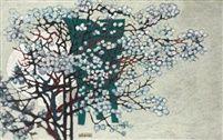 Kim Whan-ki (Korean, 1913–1974), Untitled - White porcelain jar and plum tree, oil on canvas, 106.7 x 71.2 cm. (42 x 28 in.)