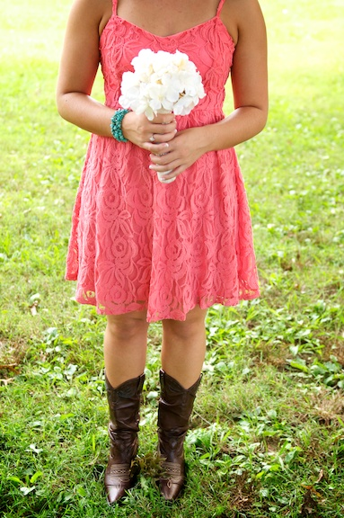 Bridesmaid in Cowboy boots coral bridesmaid dress Wedding Photography Jamie Montgomery Photography
