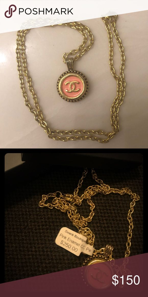 Chanel Pendant Necklace Chanel pendant necklace with pink/gold pendant and 12-inch gold chain. Worn once. CHANEL Jewelry Necklaces