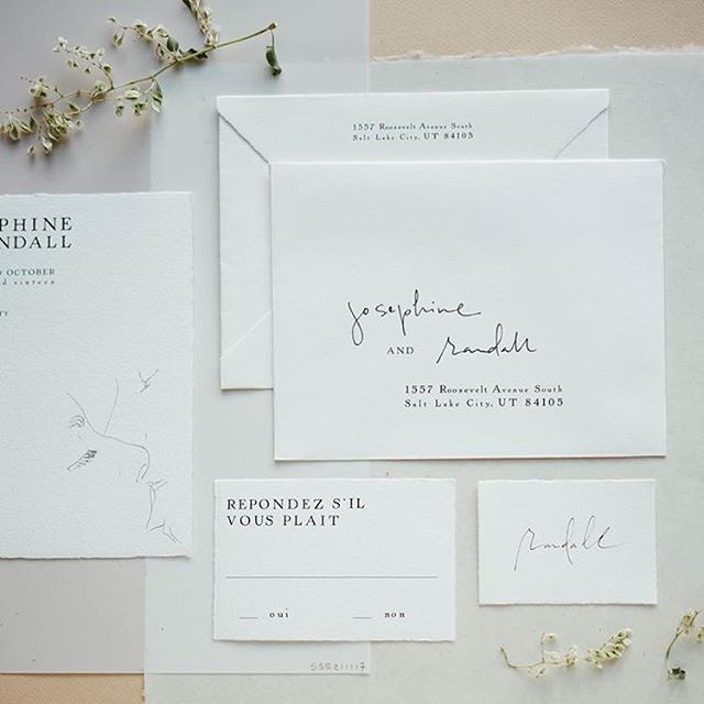 Illustration + wedding paper .  by @stacieyue at @thepathworkshops @darcybenincosa @tesscomrie @tingefloral | Also, thought you guys should know: I'm going to offer half-printed, half-lettered addressed envelopes (like above) as a good bargain and good style compromise for my wedding suites. Keep it in mind as we enter wedding season! Updates at @scriptmercantile always.