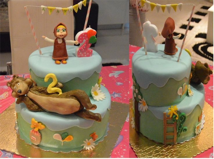 Birthday cake with Masha & the bear. For Athanasia's 2nd birthday! Τούρτα Μάσα και αρκούδος. Για τα δεύτερα γενέθλια της Αθανασίας