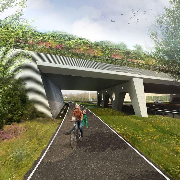 Tenderontwerp landschappelijke inpassing en architectonisch vormgeving van een natuurbrug tussen de twee helften van het Gooi, in opdracht van Mourik Groot Ammers