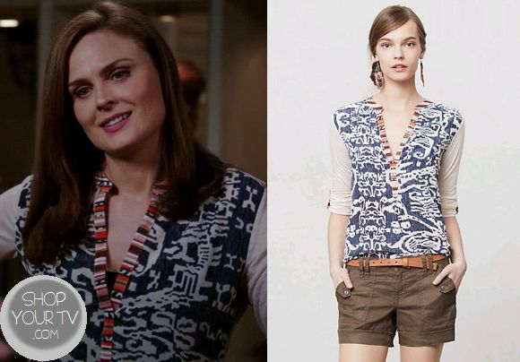 Dr. Temperance 'Bones' Brennan (Emily Deschanel) wears this blue printed aztec ikat blouse in this week's episode of Bones. It is the AnthropologieSima Top. Buy itHEREfor $49.95 All outfits fromBonesOther Outfits from Bones Season 9 Episode 9Bones' Other Outfits