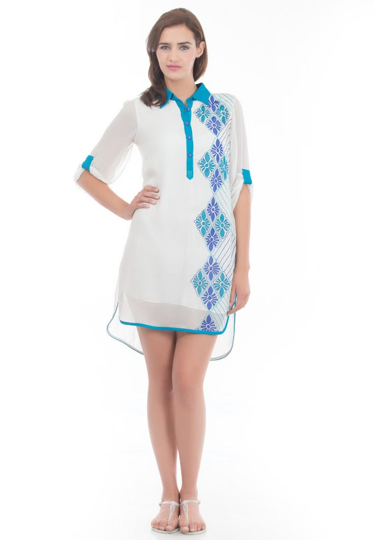 Polo Collar Tunic -> - Semi Georgette - Santoon Lining - Round Bottom Polo Collar Tunic - Button Placket Opening  With 3/4 Appulay Sleevs - Patchwork and Thread Emboidery on Left Front Pannel - High/Low Hem - Dry Clean  Order Now : http://www.rinkusobti.com/clothing/polo-collar-tunic