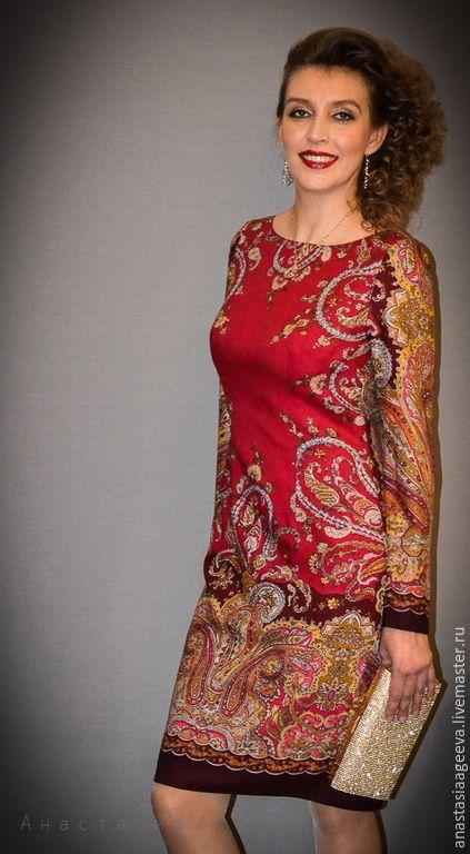 """Купить Платье из платка """"Караван"""" в красном . - бордовый, орнамент, платье из платка, платье ручной работы"""
