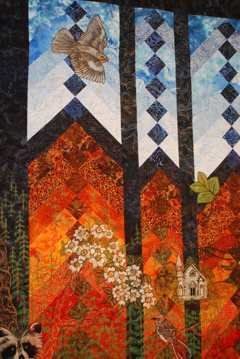 "close up, ""Under Tennessee Skies"" Quilt, a French Braid landscape quilt with embroidery by Kathy Drew Quilting"