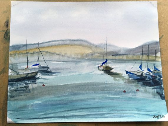 Yachts watercolour by KnottyThistle on Etsy