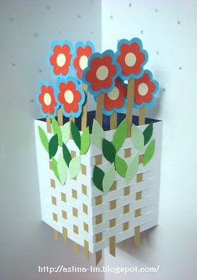 Lin Handmade Greetings Card: From red to blue pop up card