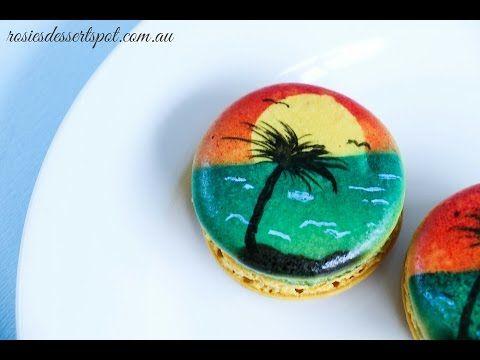 Airbrushed Macarons- Sunset macaron tutorial - YouTube