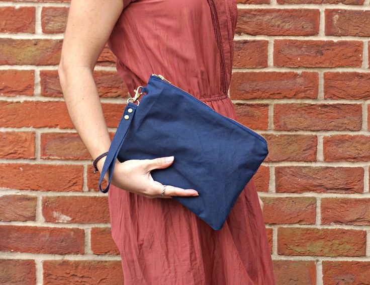 Navy Clutch Bag - Wax Coated Navy Hand Bag - Navy Wristlet Handbag by theWatermelonDesign on Etsy