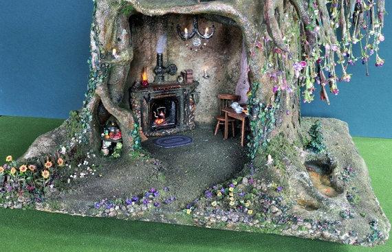 SALE 20% off!   Fairy tree trunk doll house by Torisaur