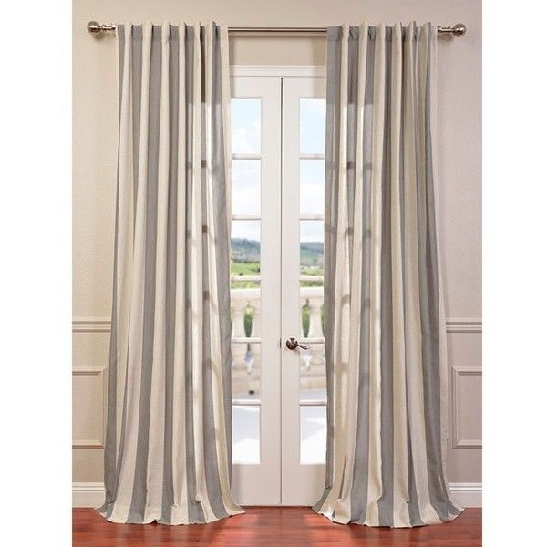 Exclusive Fabrics Bermuda Grey Linen Blend Stripe Curtain Panel ($63) ❤ liked on Polyvore featuring home, home decor, window treatments, curtains, stripe window panel, grey patterned curtains, fabric panels, gray curtains and gray patterned curtains