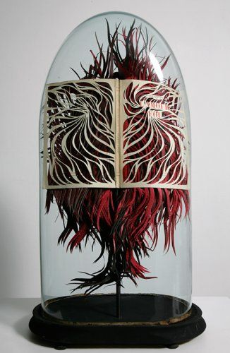 Georgia Russell, 'L'Amour Fou (Andre Breton)', 2009. Cut and painted book in oval bell jar. http://www.englandgallery.com/artist_work.php?mainId=32=none&_p=35&_gnum=8=Constructions%20%26%20mixed%20media