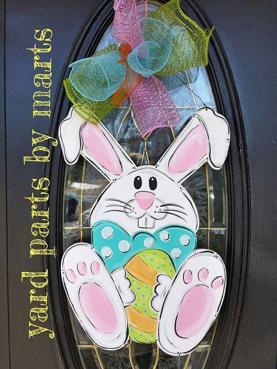 EASTER BUNNY Spring door hanger Happy Easter by YardPartsByMarts, $30.00
