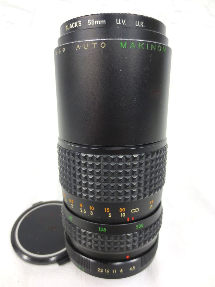 Camera Lens Zoom Makinon 80-200 mm 1:4.5 with Blacks 50 mm UV UK