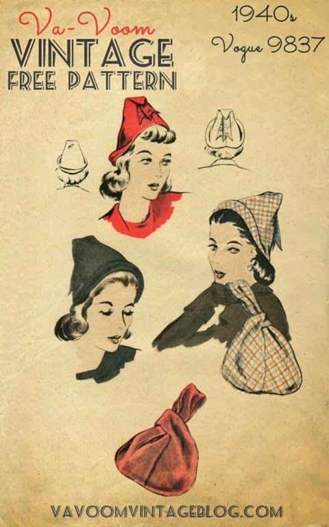 free crochet and knitting and sewing pattern 1940s vintage hat and purse pdf download