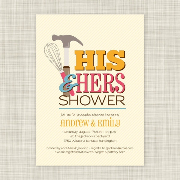 Wedding or Bridal Shower Invitations and Invites - Couples Shower - His and Hers Shower - Handy Couple. $18.00, via Etsy.