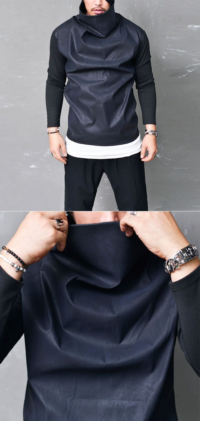 Tops :: Tees :: Edge Leather Highneck Turtle-Tee 605 - Mens Fashion Clothing For An Attractive Guy Look