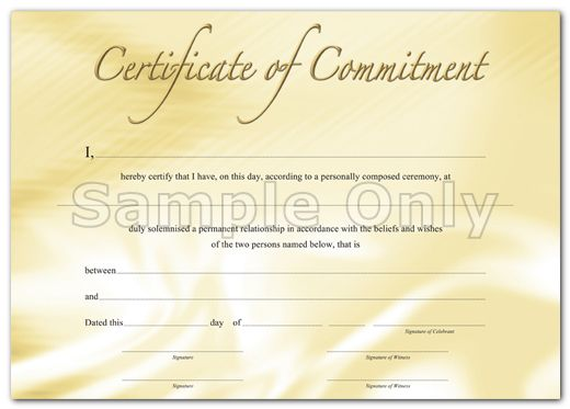 Wedding Commitment Ceremony Certificate Templates