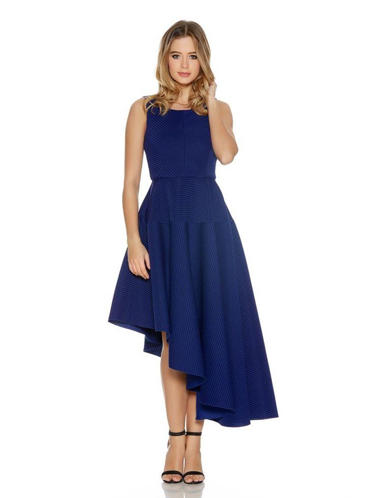 Royal Blue Ribbed Asymmetrical Skater Dress - Quiz Clothing