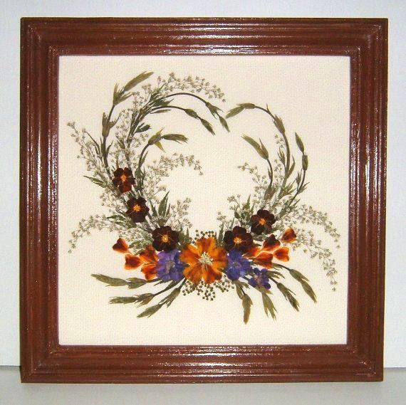 Framed Pressed Flowers / Oshibana.  P/N 148 by PressedFlowersArt, $49.00