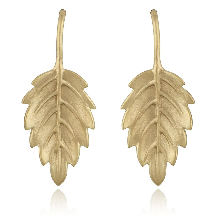 Mistica Earrings. Sand blasted 14 karat yellow gold.