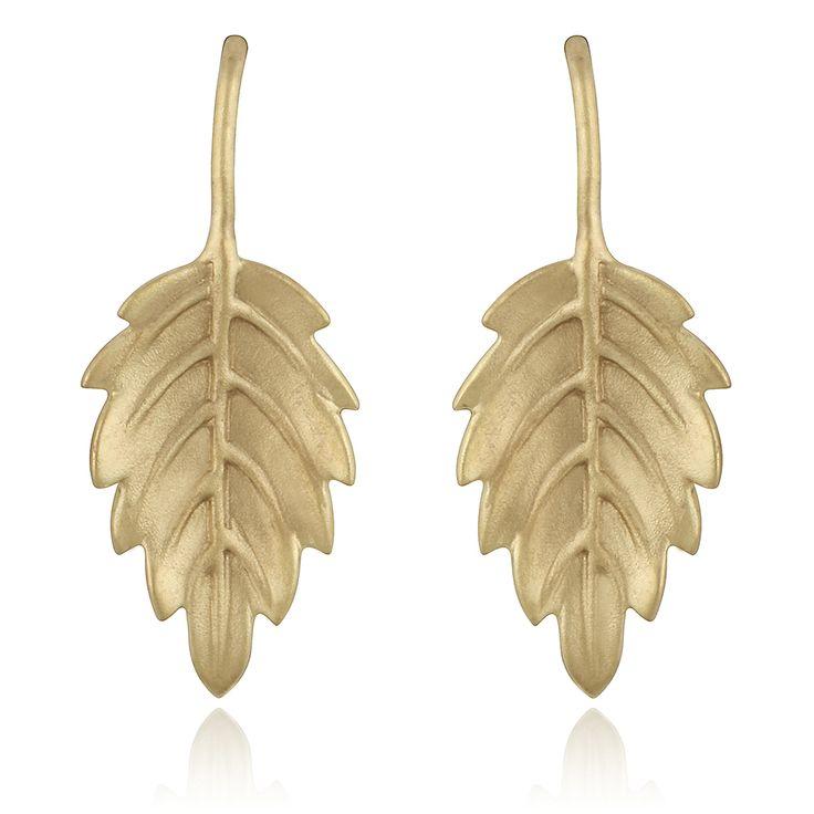 Mistica Earrings. Sand blasted 14 karat yellow gold.