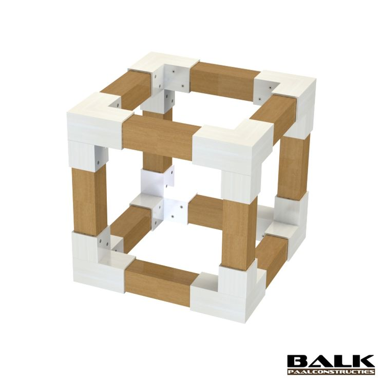 Wood cube construction made with BALK connectors / couplings / joints / fittings / corner pieces for wooden beams.