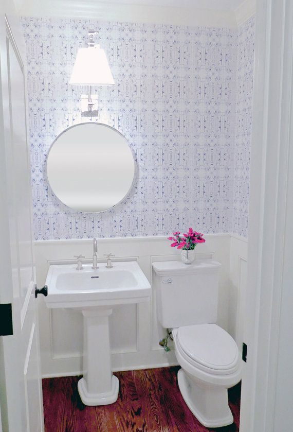 Powder Room Wallpaper Blue And White Half Bathroom Pedestal Sink Kohler  Purist Faucet Round Mirror Adjustable Arm Sconce Wainscoting Small Bath  Ideas