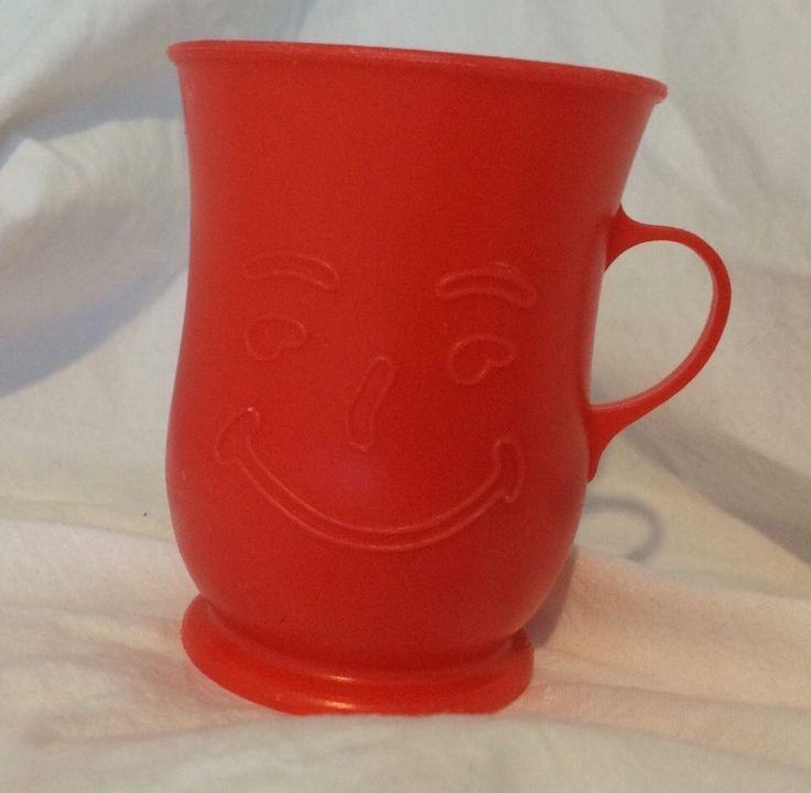 Vintage Kool-Aid Man Red Plastic Cup Mug #KoolAid