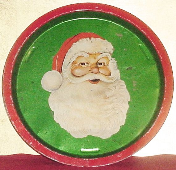 Vintage SANTA Claus Litho Tin TRAY Retro CHRISTMAS ...