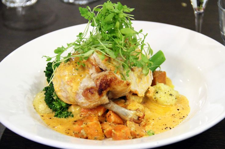 Taleggio stuffed Chicken Breast served with sweet potato and herb buttered gnocchi, broccolini and a creamy sundried tomato sauce.
