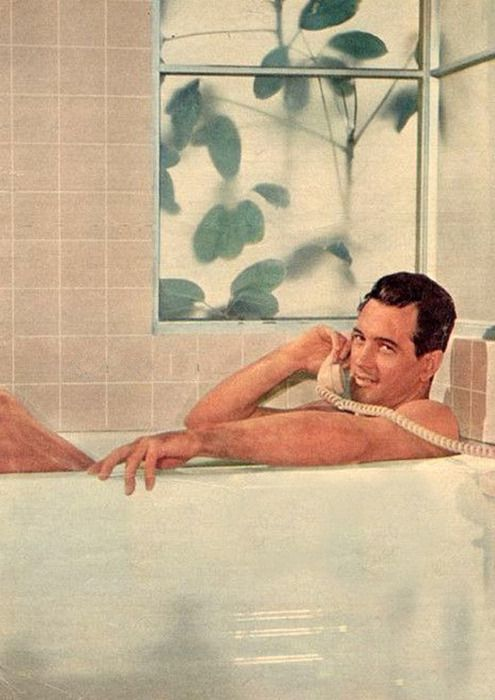 Rock Hudson from movie Pillow Talk with Doris Day ... too fun. Wearing nothing at all. hee hee hee....